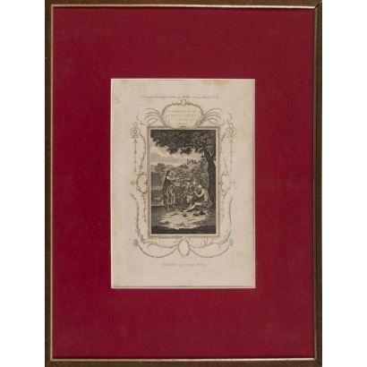 Grabado. s.XVIII. Representa a Elihu (Libor de Job) dando un monólogo sobre la providencia Divina. 62x47cm/35x24cm