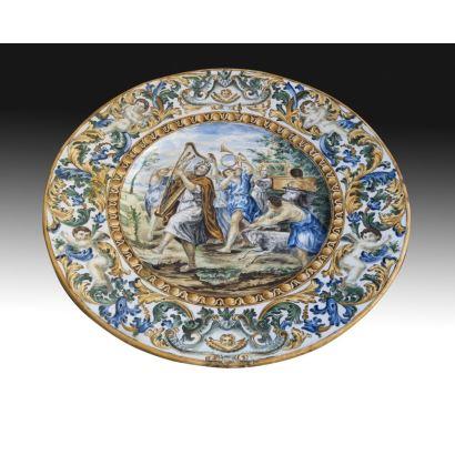 Gran plato en cerámica italiana, ffs. XIX.