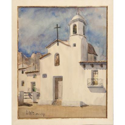 AJO SÁEZ, Lorenzo (Villanubla, Valladolid, 1944). Acuarela sobre cartulina.