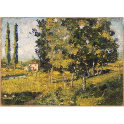 SOLER GILI, Domingo (Sabadell, Barcelona, 1871-1951). Óleo sobre lienzo.