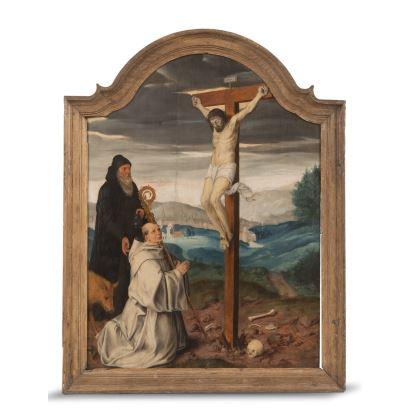 Atribuido a Maarten van Heemskerck ( Heemskerk, 1498 - Haarlem, 1 de octubre de 1574). Óleo sobre tabla. Crucifixión con donante.  Medidas: 66x48cm.