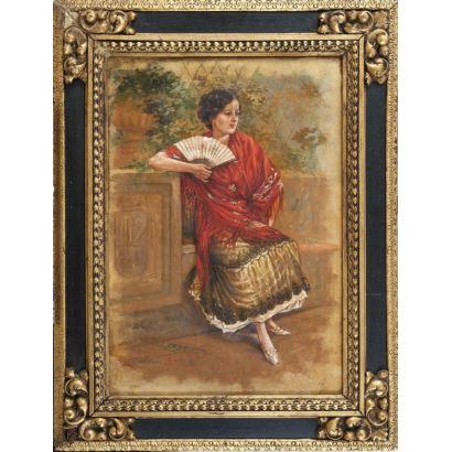 PUIG RODA, Gabriel (Tirig, Castellón,1865 - Vinaroz, CAstellón, 1919). Óleo sobre lienzo.