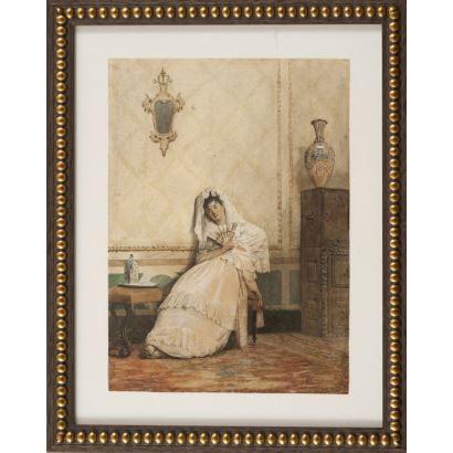 FRANCÉS PASCUAL, Plácido (Alcoy, Alicante, 1834- Madrid, 1902). Acuarela sobre papel.