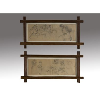 Dibujo. Pareja de dibujos realizados a lápiz sobre papel, en ambos contemplamos estudios de personajes masculinos y femeninos en diversas poses. Firmados en ángulo inferior derecho. 72x37cm s/m 53x18cm.