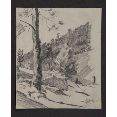 """""""Paisaje montañoso"""", Firma ilegible. Se trata de un dibujo sobre cartulina, que aparece firmado por el propio autor en el ángulo inferior derecho. Medidas: 16 x 14 cm."""