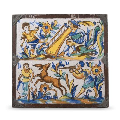 Pareja de azulejos rectangulares enmarcados, Puente del Arzobispo siglo XVIII.