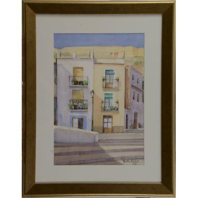 """""""Casas"""", Gastón Castelló. Se trata de una acuarela sobre papel, que aparece firmada y fechada (1980) por el propio autor en el ángulo inferior derecho. Está enmarcada. Medidas con marco: 71 x 56 cm. Medidas sin marco: 48 x 33 cm."""