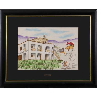 """""""Grup Costa Brava"""", Xavier Cugat. Se trata de un dibujo sobre papel, que aparece firmado por el propio autor en el ángulo inferior derecho. Incluye en el reverso la fotografía de la casa dibujada. Está enmarcado. 62,5x77,5cm s/m 34x49cm."""