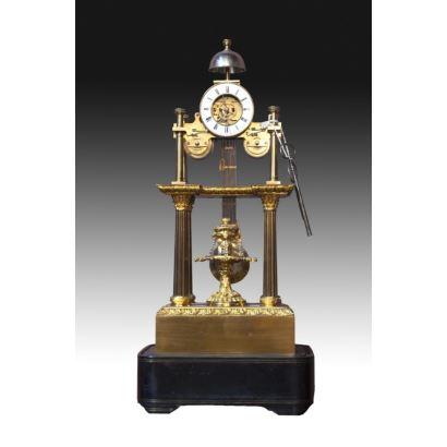 Relojes. Reloj de esqueleto en bronce, siglo XIX.