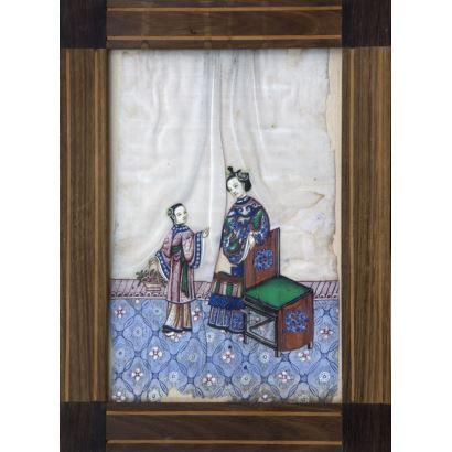 Acuarela sobre papel, China siglo XIX.