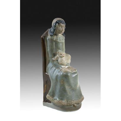 Figura en porcelana valenciana, mediados S. XX.