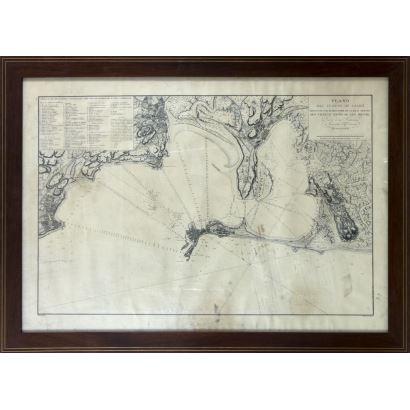 Obra Gráfica. Grabado del plano del puerto de Cádiz, S. XX.