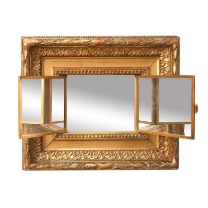 Escuela francesa, S. XIX.Concierto en el jardín. Óleo sobre metal. En el interior presenta espejo tríptico de tocador. Medidas: 14 x 20 cm. Medidas con marco: 34 x 39 cm.