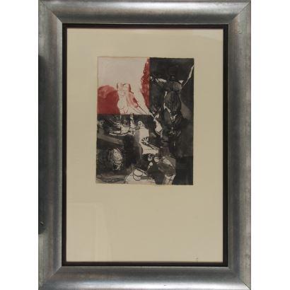 Obra Gráfica. PELAYO, Orlando (Gijón, 1920-Oviedo, 1990). Grabado. Sin título. Firma en ángulo inferior derecho. 115x84cm s/m 50x38cm.