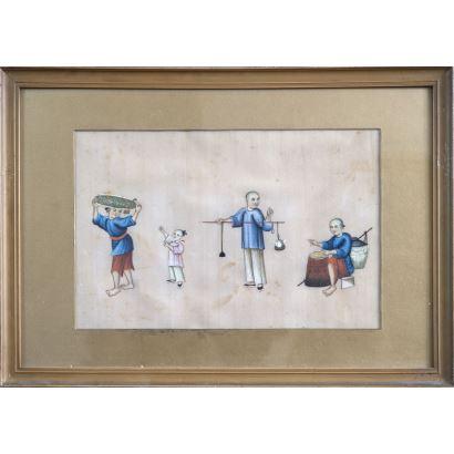 Dibujo. Gouache sobre papel arroz. Escuela china, siglo XIX.