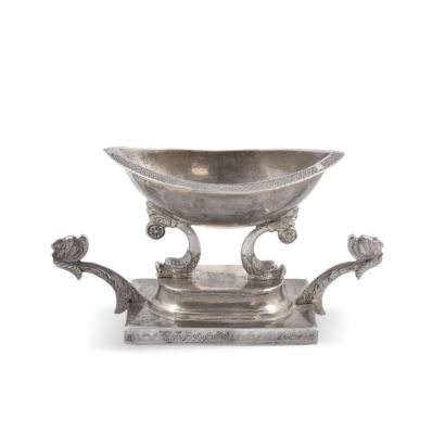Especiero estilo Imperio realizado en plata, siglo XIX.