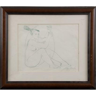 CASTAÑEDA, Emilia (1943). Dibujo a lápiz.