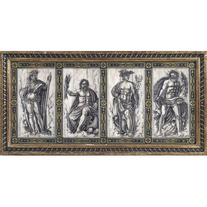 Conjunto de cuatro placas de marfil, siglo XX.