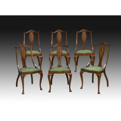 Conjunto seis sillas estilo Reina Ana, siglo XIX.