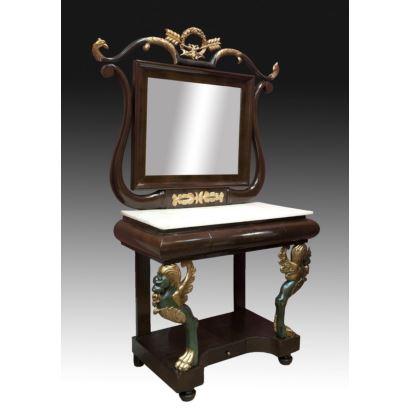 Consola y espejo estilo Imperio, siglo XIX.