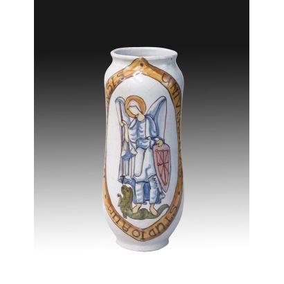 Albarelo en cerámica de Navarra, S. XX.