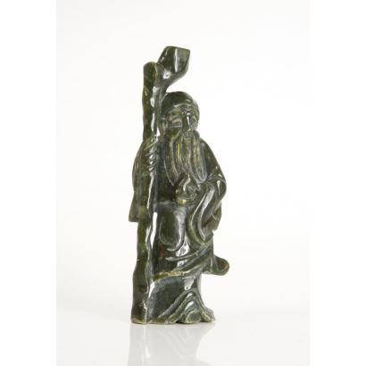Figura china en jade, pps. siglo XX.