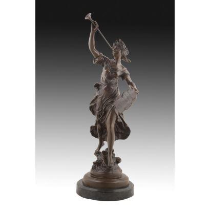 Figura en bronce, S. XX. Firmada: