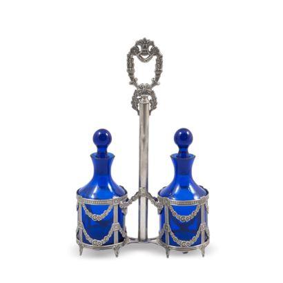 Convoy de vinagreras en plata española estilo Imperio y  botellas en cristal azul, finales del siglo XIX.