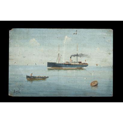 Vista marítima con barcos. Óleo sobre tabla. Firmado A. Ausil en ángulo inferior izquierdo. Medidas: 30 x 20 cm.