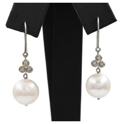 Pendientes de oro blanco con diamantes y perlas