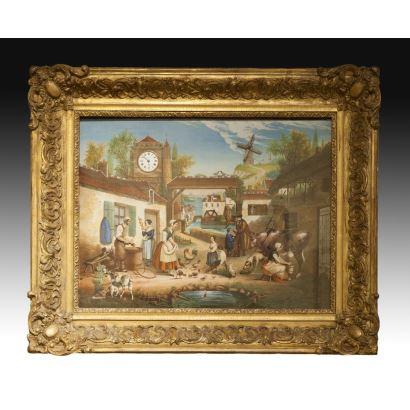 Diorama francés Napoleón III con paisaje italiano animado y reloj, s. XIX.