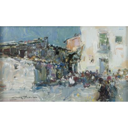 Giner Bueno, Luis (Godella, Valencia, 1935). Vista de calle. Óleo sobre lienzo. Firmado en margen inferior izquierdo. Medidas sin marco: 29 x 17 cm. Medidas con marco: 54 x 41 cm.