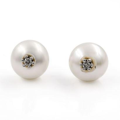 Pendientes de oro blanco, perlas y diamantes
