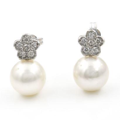 Pendientes en oro blanco con perlas y diamantes