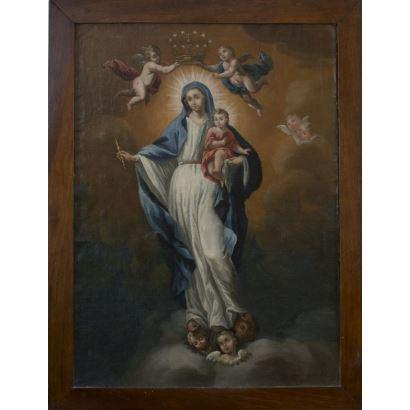 Óleo sobre lienzo S.XVII.  Virgen Inmaculada con niño Jesús coronada por los ángeles. 94x72cm 82x60cm
