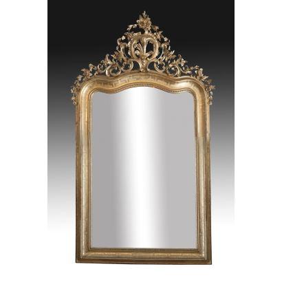 Gran espejo estilo Luis XV, siglo XIX.