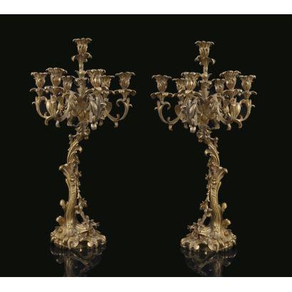 Pareja de candelabros, estilo Luis XV, Henry Picard (Francia, 1840-1890)