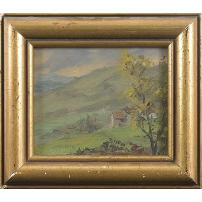 Pintura del siglo XX. óleo sobre tabla, Vista de paisaje colorista