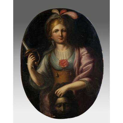 Óleo sobre lienzo en formato oval. Escuela italiana, S.XVII.