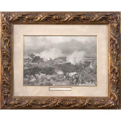 Grabado en blanco y negro.  Escuela francesa. Pintura de  Eugène Lami,  S. XIX.