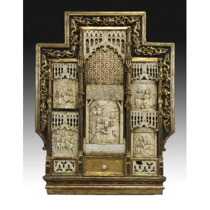 Retablo de marfil, Europa, siglo XIX.
