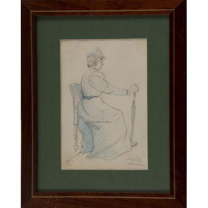 PALAO ORTUBIA, Luis. Dibujo a lápiz de colores.  ss.XIX-XX.