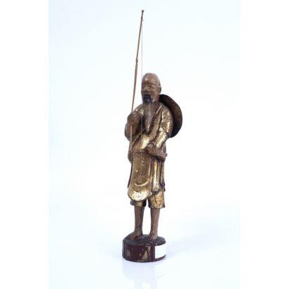 Pescador chino, siglo XIX.