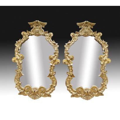 Pareja de espejos españoles, siglo XIX.