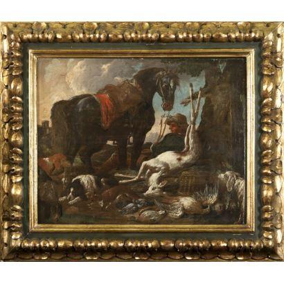 """Pintura de Alta Época. Óleo sobre lienzo. Atribuido a """"ROSA DE TÍVOLI""""; ROOS, Philipp Peter (Fráncfort del Meno, Alemania, 1657-Roma, 1706)."""