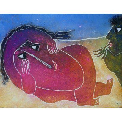GARCÍA RIPOLLÉS, Joan (Alzira, Valencia, 1932). Técnica mixta sobre lienzo.