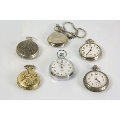 Lote de 6 relojes de bolsillo, siglo XlX Y SIGLO XX