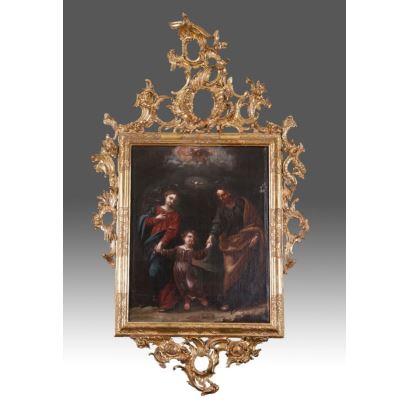 Óleo sobre lienzo en excepcional marco en madera tallada y dorada con rocalla.S.xvii.