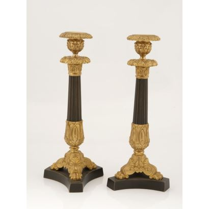 Pareja de candeleros Imperio, Francia, siglo XIX.