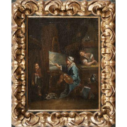 Óleo sobre lienzo. Escuela francesa. s.XVIII.